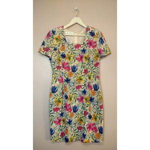 Vintage Maggy London Floral 100% Silk Shift Dress